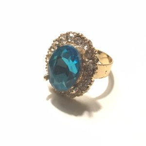 Fashion Ring Topaz Diamond Gold Adjustable 7+